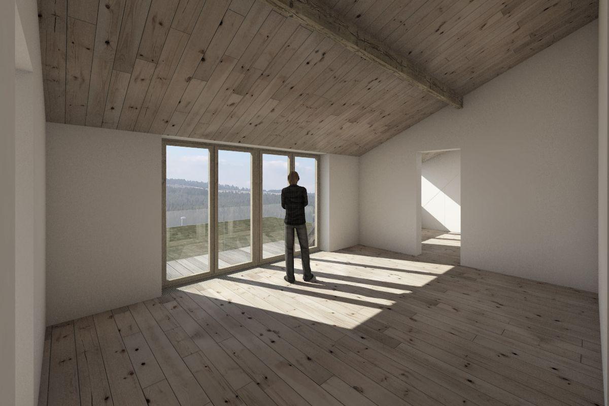 Vizualizace - interiér místnosti bytu